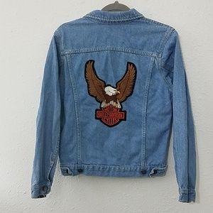Harley Davidson denim jacket sz XL youth boys